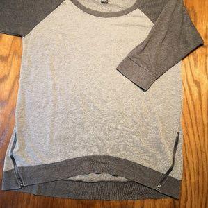Torrid 3/4 sleeve sweatshirt zip hem